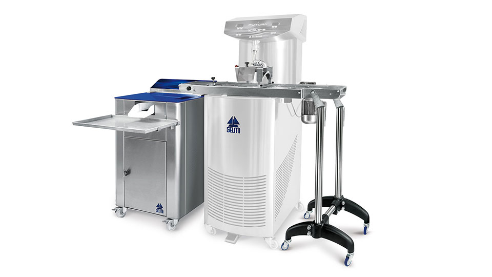 Automatic Truffle. Chocolate truffles coating machine: Coating belt for chocolate truffles and Tartufina